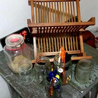 Ecclectic Vintage Mason jar Dish rack set