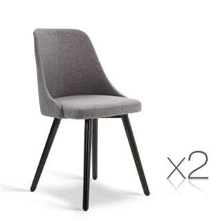 Set of 2 Fabric Dining Chair Grey SKU: UPHO-C-DIN-1003-GYX2