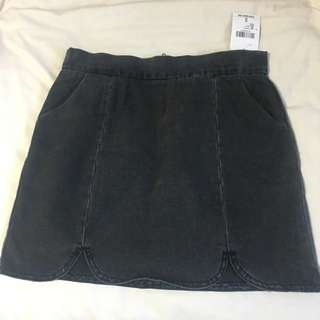 F21 Black Denim Skirt