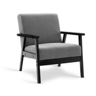 Fabric Dining Armchair Black and Grey SKU: UPHO-C-SOFA-8033-GY