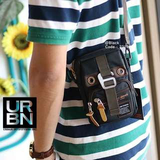 Mini Sling Bag URBAN 2315#p  Best Quality Size : 12x4x18cm Material Canvas Colours : - Light Yellow - Black  Multi fungsi : Slempang/Pinggang Bisa muat hp dll Berat : 0,2 kg/pcs   H 145rb