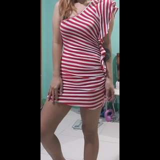 Red striped party dress
