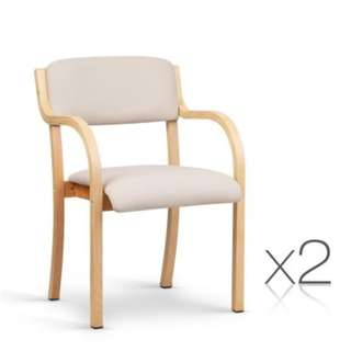 Set of 2 Fabric Dining Chair Beige SKU: UPHO-C-DIN-1006-BGX2