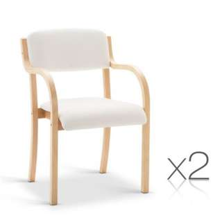 Set of 2 PU Leather Dining Chair White and Beige SKU: UPHO-C-DIN-1006-WHX2
