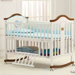 OFFER! Baby Bed Wood Versatile Baby Cradle Bed
