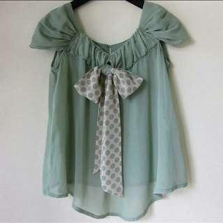 🚚 日本  水玉點點 雪紡紗蝴蝶結 上衣#十二月女裝半價