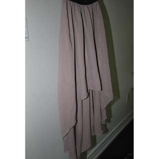 Dusty Rose High Low Chiffon Skirt Stretchy Waist Band XS to S