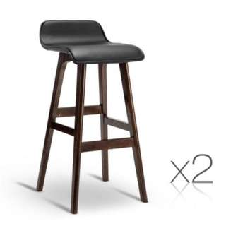 Set of 2 PU Leather Bar Stools Black SKU: BENT-C-077-BKX2
