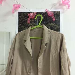 全新 韓 春夏 薄長袖 外套 罩衫 襯衫 土色 棕色 卡其 上衣