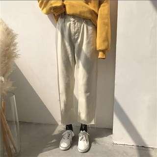 全新 韓國 乳白 杏白色 直筒褲 牛仔褲 褲子 長褲 高腰