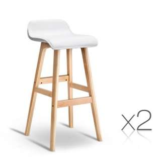 Set of 2 PU Leather Bar Stools White SKU: BENT-C-077-WHX2