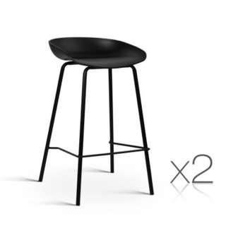 Set of 2 Bar Stools with PP Plastic Seat Black SKU: BA-BB-BAR-8319-BKX2