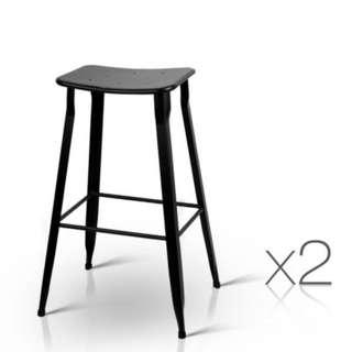 Set of 2 Industrial Bar Stools Black SKU: BA-TW-V17-T5074-BKX2