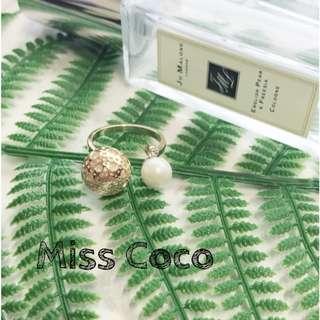 【Miss Coco】現貨 個性開口珍珠戒指創意裝飾品指環