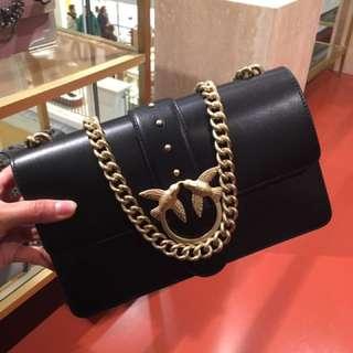 Pinko 黑拼金色手袋 斜咩袋 Handbags