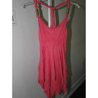 Pink Drapey Tank with Gold Accents size Small