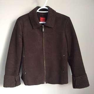 ESPRIT brown faux shearling sherpa collar jacket