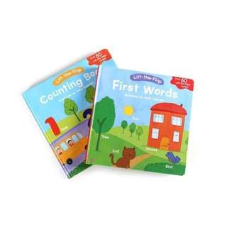 Usborne Lift-the-Flap counting books and first words for 2-3 years old