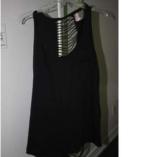 Black Tunic Tank/Dress with Full back ribbed open Size Large