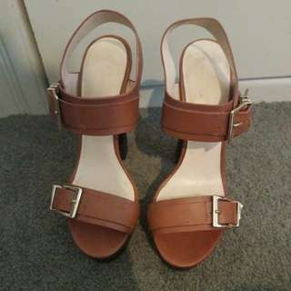 Forever New Tan Heels - size 38