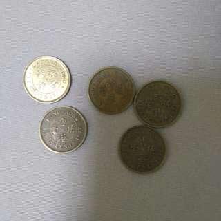 1977年香港伍毫,英女皇頭 共5枚