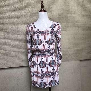 aztec print garterized dress