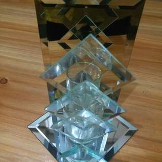Mirror glass candle holder