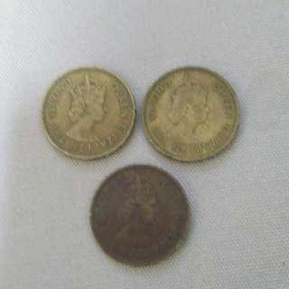 香港一毫,女皇頭 1961年+1978年 共3枚