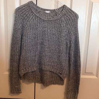 White and Grey Knit Sweater