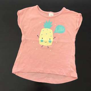 Vgc Girls SIze 2 Cute Pineapple Print Tee Tshirt
