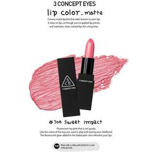 3 Concept Eyes 3ce Matte Lip Colour In 706 Sweet Impact