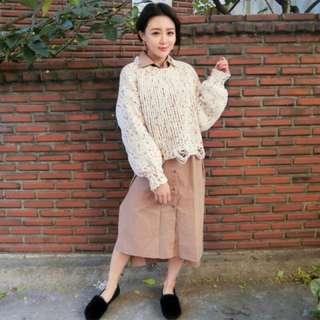 正韓 彩色點點針織毛衣