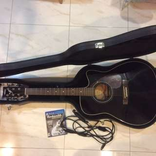 Yamaha FX370C-BL Elec-Acoustic Guitar with Rocksmith 2014 ps4 game and guitar real tone cable for ps4