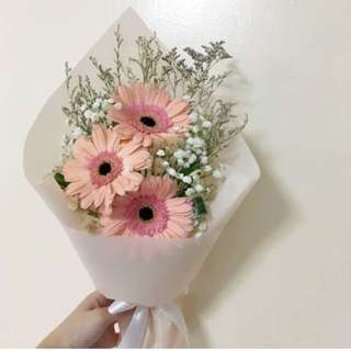 Peach Gerberas with Baby Breath and Caspia