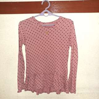 Zara kids rose pink polka dot blouse