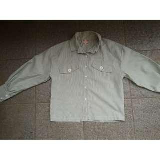 Baju Stripe Crop Pastel Green