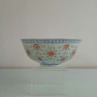 Antique Blue White Orange design Rice Grain Bowl height 8cm diameter 19cm perfect