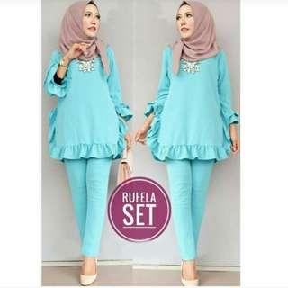 Al vv set rufela setelan blouse dan celana muslim wanita