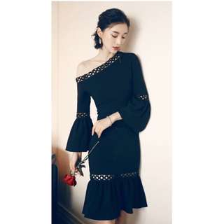 Black off shoulder elegant dress