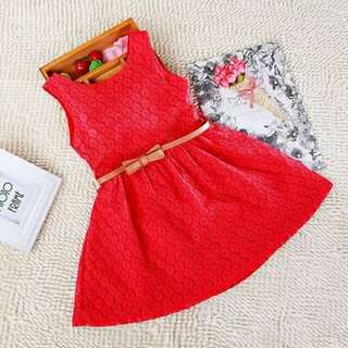 WS Girl's Red Dress with Free PU Leather Belt
