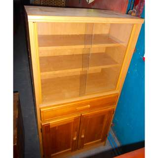 2 Door/ 1 Drawer Glass Cabinet