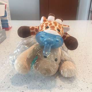 Baby pacifier with cute soft toy attached