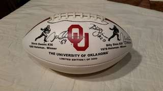 condition: new  make / manufacturer: BADEN COLLECTORS SERIES/OKLAHOMA size / dimensions: (full size game ball)  OU FOOTBALL, COLLECTORS LIMITED EDITION, AUTOGRAPHED BY STEVE OWENS, BILLY SIMS, & JASON WHITE