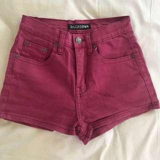 Ziggy - Pink High Waisted Denim Shorts