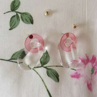 Unique Tumblr Clear Transparent Pink Earrings