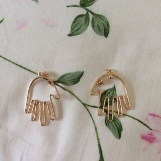 Unique Tumblr Hand Palm Gold Earrings