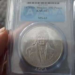 鑑定幣ms63墨西哥1978銀幣