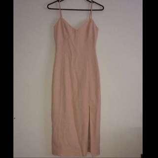 Kookai baby Pink pale pink split side midi dress size 34