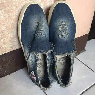 Denim slip ons