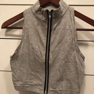 Grey zip up cropped turtleneck